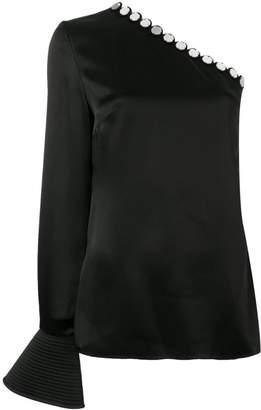 David Koma circle trim one shoulder blouse