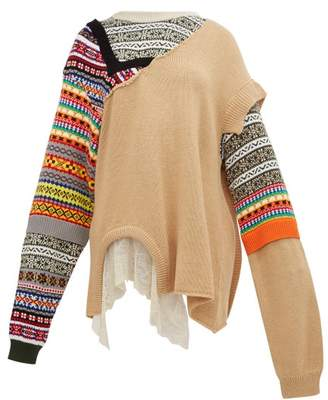 Preen by Thornton Bregazzi Naya Fair Isle Knit Patchwork Cotton Sweater - Womens - Beige Multi