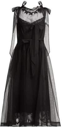 Simone Rocha Floral Bead Tulle Midi Dress - Womens - Black