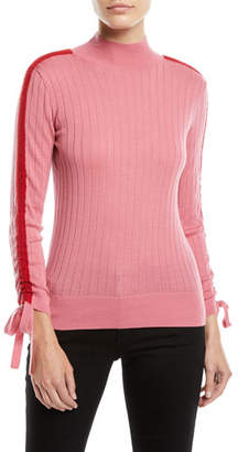 Emporio Armani Mock-Neck Ruched Sport-Stripe Long-Sleeve Ribbed Wool Top