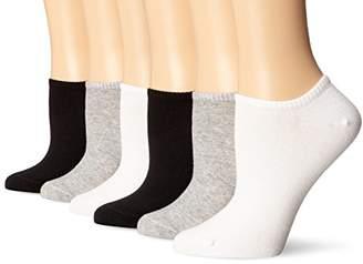 Hue Women's Cotton Liner No-Show Sock 6-Pack