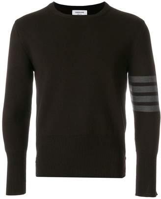 Thom Browne 4-Bar Stripe Milano Stitch Merino Pullover