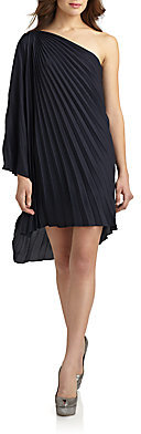 Halston Pleated Draped Shoulder Dress