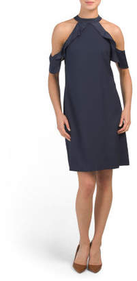 Halter Neck Dress With Ruffle Detail