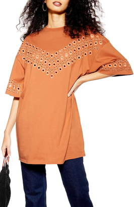 Topshop Broderie Tunic Top