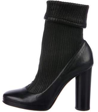 Dolce & Gabbana Ribbed-Leather Sock Booties