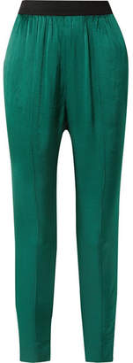By Malene Birger Ietos Tapered Satin Pants - Green