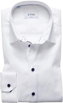 Eton Super Slim Fit Twill Dress Shirt with Navy Details