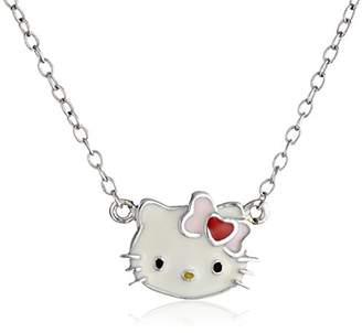 Hello Kitty Streling Heart Bow Enamel Pendant Necklace