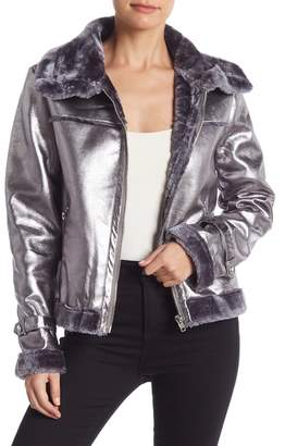 Do & Be Do + Be Metallic Faux Leather Faux Fur Lined Jacket