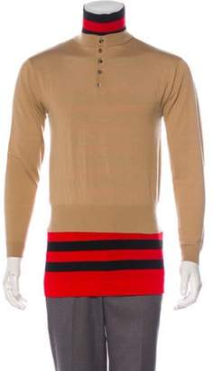 J.W.Anderson Wool Layered Henley Sweater red Wool Layered Henley Sweater