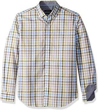 Bugatchi Men's Cotton Tapered Fit Green Lines Woven
