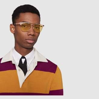 Gucci Square-frame metal sunglasses