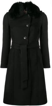 Twin-Set fur collar single breasted coat