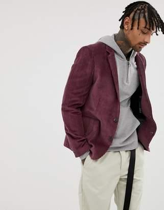 Asos Design DESIGN cord relaxed slim blazer in purple