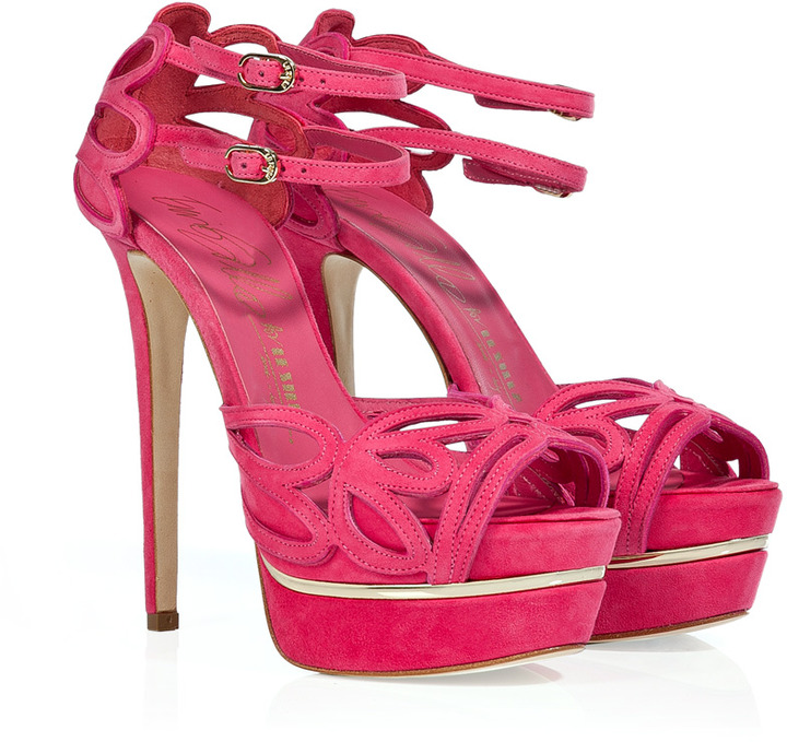 Le Silla Pink Suede Cut-Out Platform Sandals