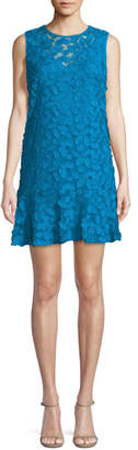 Trina Turk Barbra Morning Glory Sleeveless Lace Flounce Dress