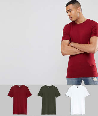 Asos DESIGN Tall muscle fit t-shirt with crew neck 3 pack SAVE