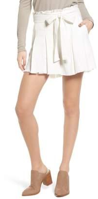 Moon River Raw Hem Paper Bag Waist Shorts