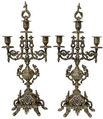 One Kings Lane Vintage Asian-Style Brass Candelabra - Set of 2 - Retro Gallery