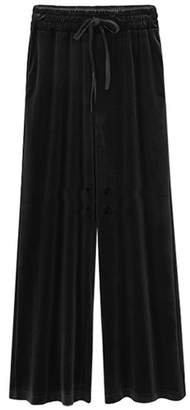 Mupoduvos Women Casual Solid High Waist Elastic Waist Loose Velvet Palazzo Pants Plus Size 5XL