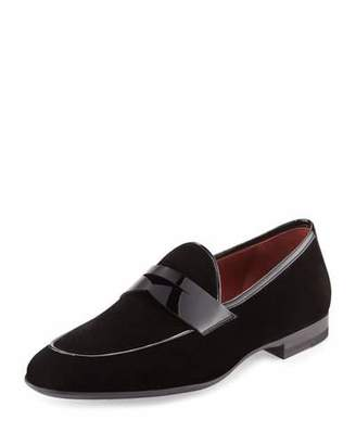 Magnanni for Neiman Marcus Velvet Formal Penny Loafer, Black $425 thestylecure.com