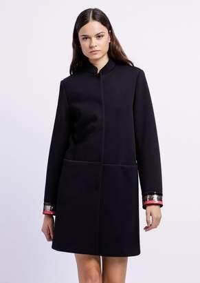 Emporio Armani Tech Canvas Coat With Sequin-Embroidered Cuffs