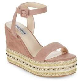 Steve Madden Reeva Suede Bead Jute Platform Sandals