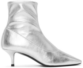 Giuseppe Zanotti Silver Stretch Ankle Boots