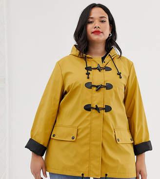 Brave Soul Plus toggle rain mac in mustard