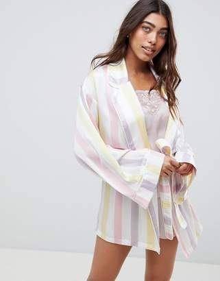 Missguided Stripe Satin Robe