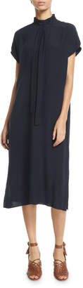 Loro Piana Tie-Neck Silk Short-Sleeve Midi Dress