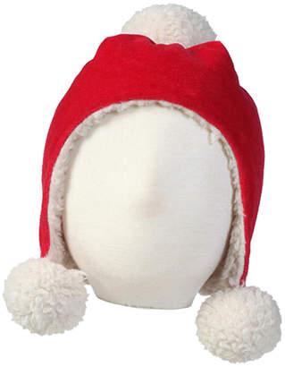 Zutano Girls' Red Velour Pom Pom Hat