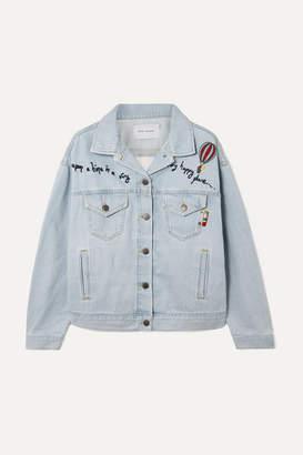 Mira Mikati Embroidered Tulle-paneled Denim Jacket - Light denim