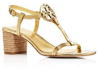 Tory Burch Women's Miller Leather T-Strap Block Heel Sandals