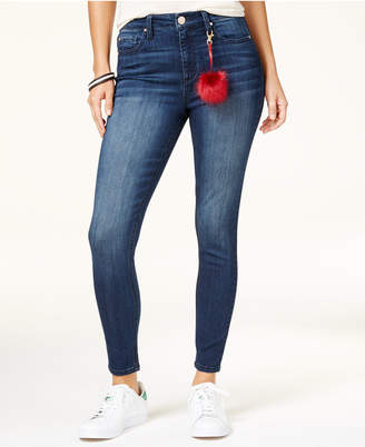 Tinseltown Juniors' High-Waist Skinny Jeans with Pom-Pom