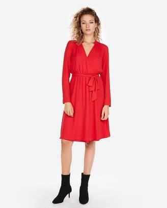 Express Surplice Tie Waist Shirt Dress