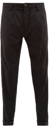 J.w.brine J.W. Brine J.w. Brine - Marshall Pleated Flecked Wool Blend Trousers - Mens - Black