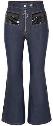 Ellery Pedestrian Cropped Pvc-trimmed Flared Jeans - Indigo