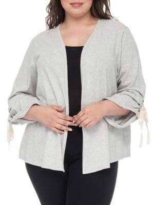 Bobeau Nia Ruched-Sleeve Cotton Cardigan