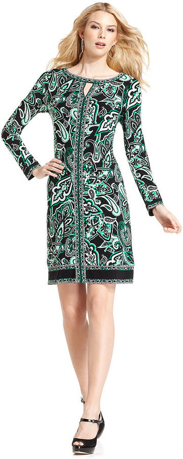 INC International Concepts Dress, Long-Sleeve Boat-Neck Printed Shift