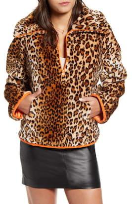 J.o.a. Leopard Print Half Zip Sweatshirt