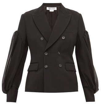 Comme des Garcons Balloon Sleeve Double Breasted Wool Blazer - Womens - Black
