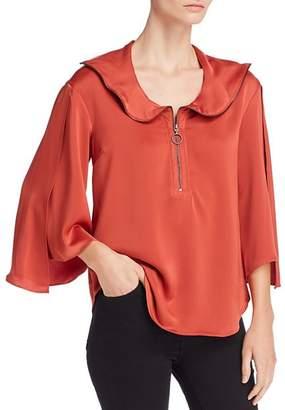 Kenneth Cole Flutter Sleeve Zip Top