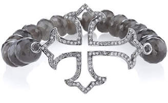 Sheryl Lowe 9mm Beaded Moonstone Bracelet with Diamond Gothic Cross