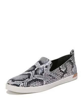 Vince Vero Snake-Print Leather Slip-On Sneakers