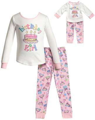 "Dollie & Me Girls 4-14 Birthday Girl"" Top & Bottoms Pajama Set & Matching Doll Pajamas"