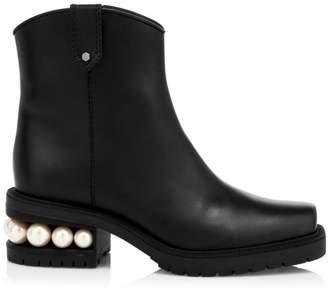 Nicholas Kirkwood Casati Leather Western Faux Pearl Ankle Boots