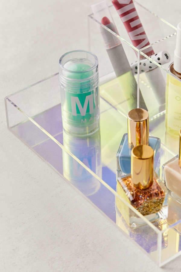 Iridescent Acrylic Makeup Organizer Tray