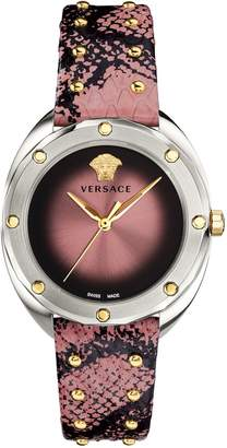 Versace Shadov Stainless Steel Leather-Strap Watch